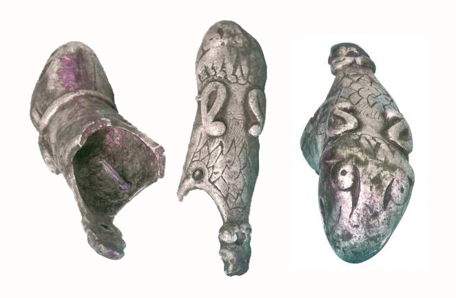 The terminal of the Anglo Saxon drinking horn terminal made out of silver.